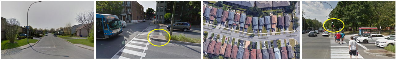 ©Google Street View images from the Virtual-STEPS manual showing micro-scale features that can affect the active living friendliness of a neighborhood (also called walkability).
